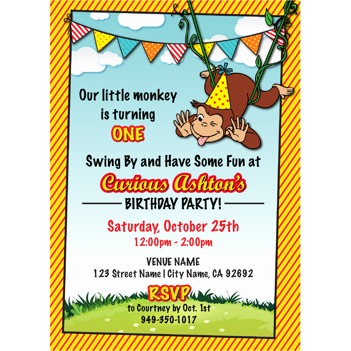 Curious George Birthday Invitation Luxury Curious George Birthday Invitations – Blackline