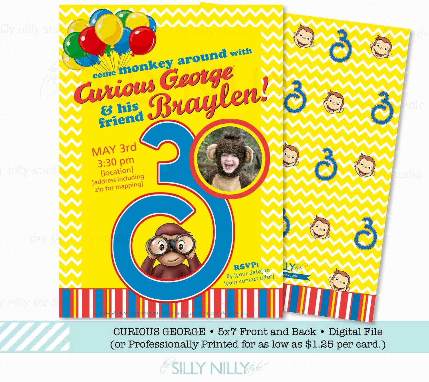 Curious George Birthday Invitation New Curious George Birthday Invitation 5x7 Birthday Invitations