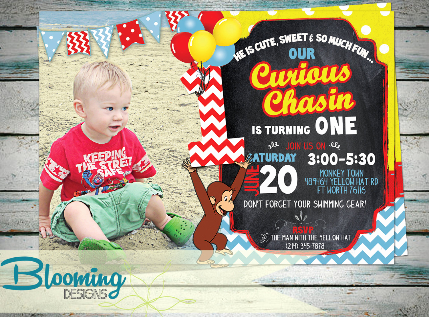 Curious George Birthday Invitation New Curious George Invitation Birthday Party by