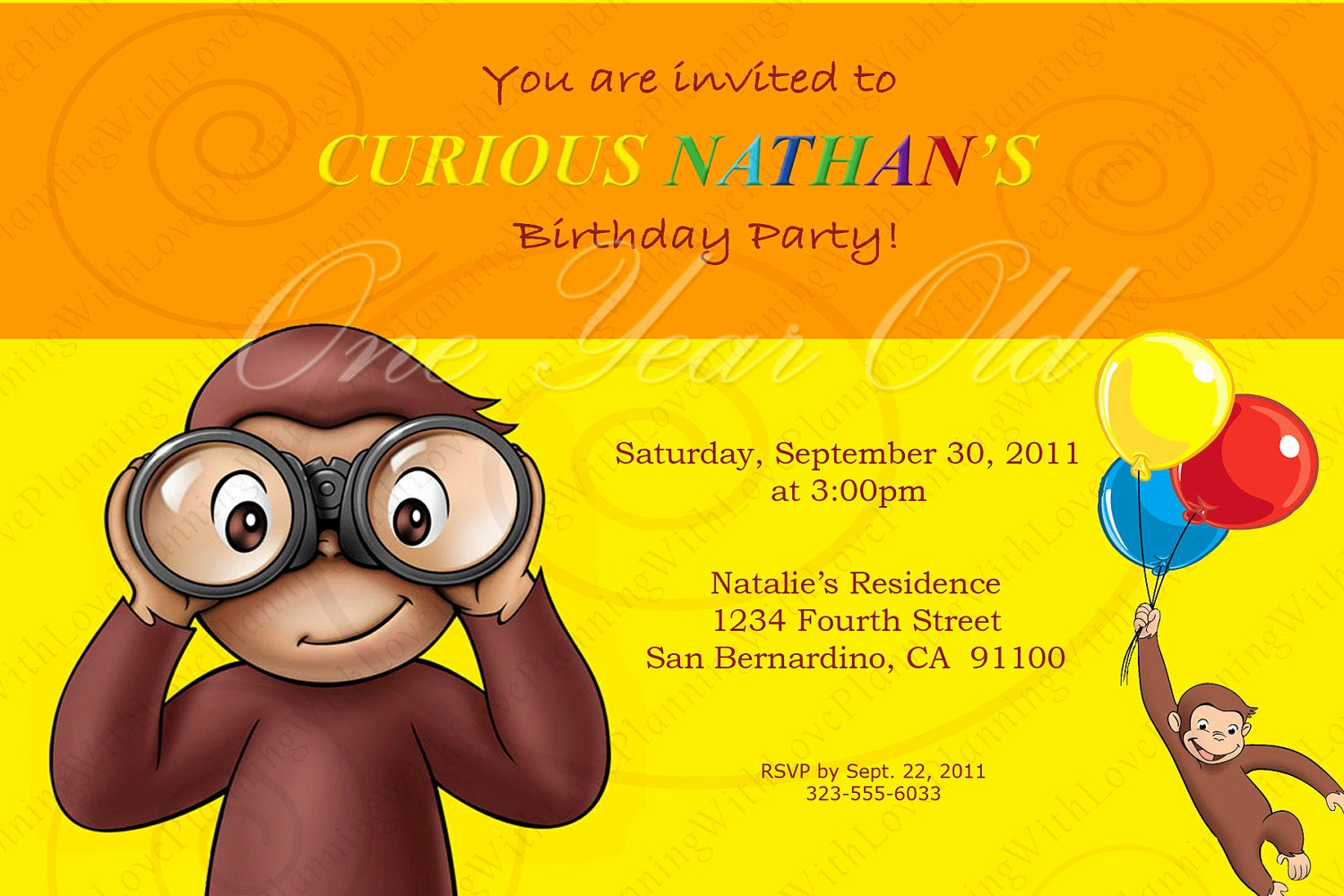 Curious George Birthday Invitation New Curious George Invitation