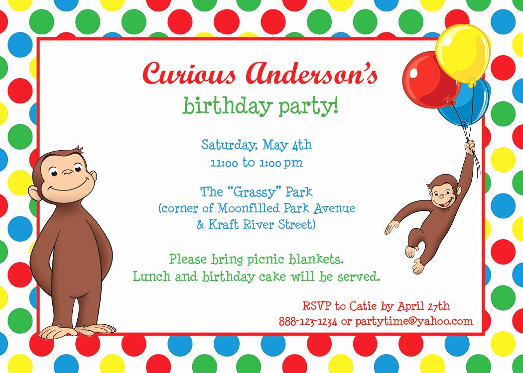 Curious George Birthday Invitation New Park Talk Printables