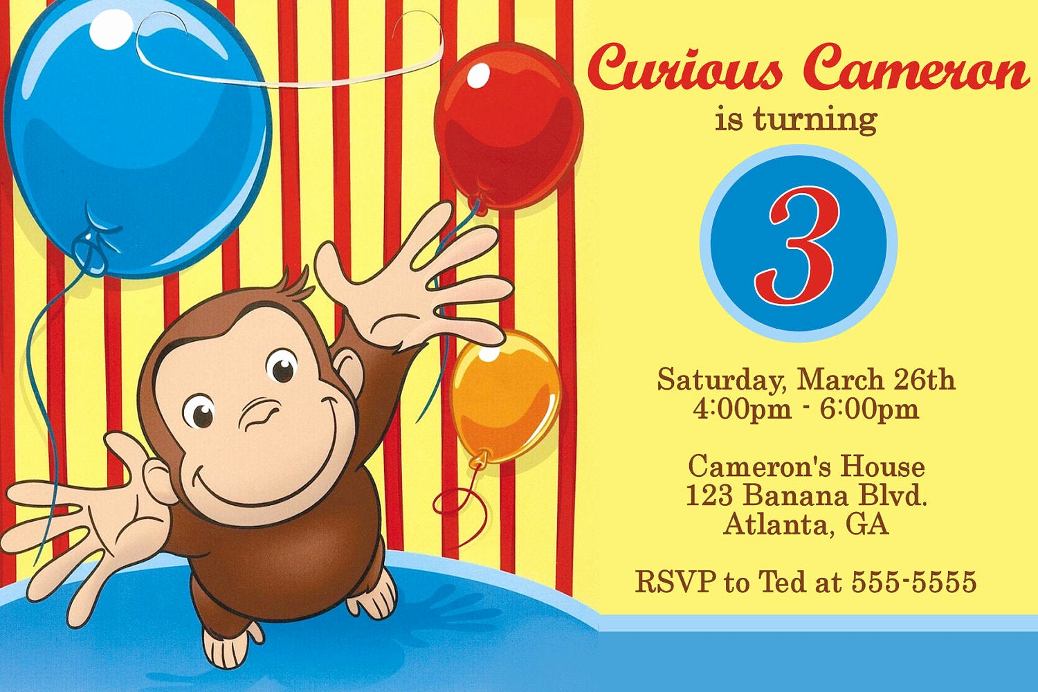 Curious George Birthday Invitation Unique Curious George Digital Invitation by Preciouspixel On Etsy