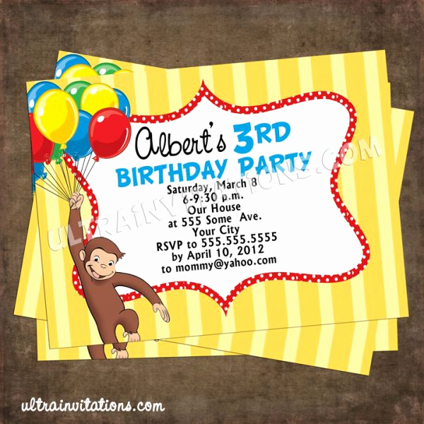 Curious George Invitation Template Awesome Curious George Invitation Templates