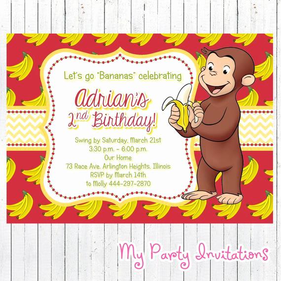 Curious George Invitation Template Beautiful Curious George Birthday Invitation Banana by