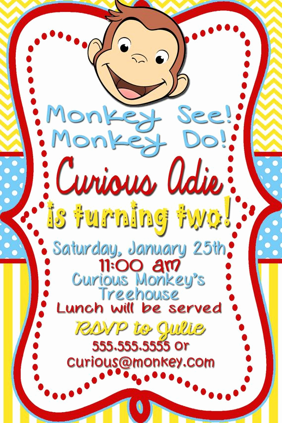 Curious George Invitation Template Best Of 25 Best Ideas About Curious George Party On Pinterest