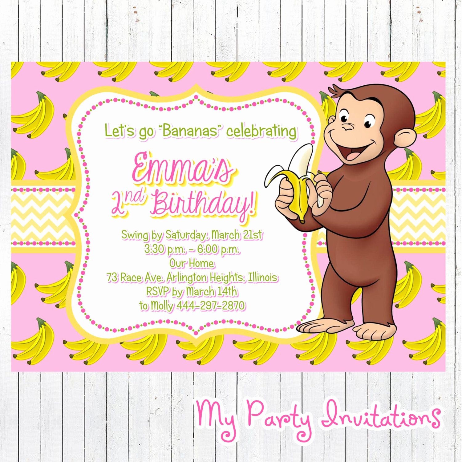 Curious George Invitation Template Best Of Curious George Birthday Invitation Banana by