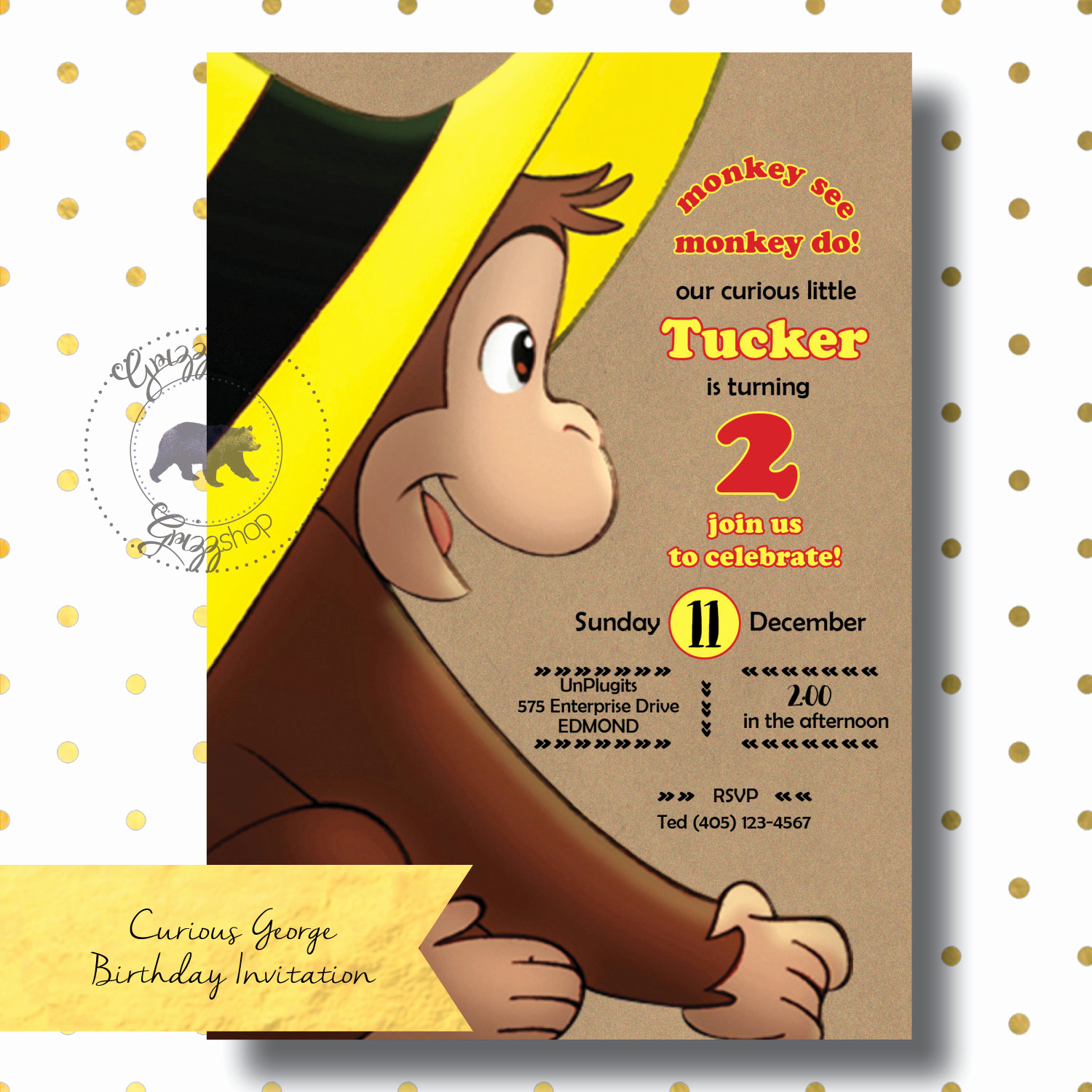 Curious George Invitation Template Elegant Curious George Birthday Invitation