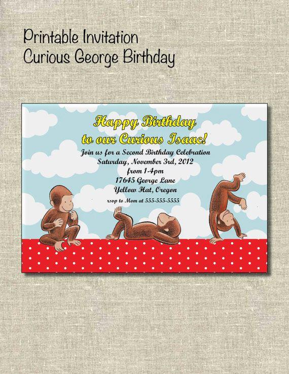 Curious George Invitation Template Elegant Curious George Printable Invitation by Printablepartiesinc