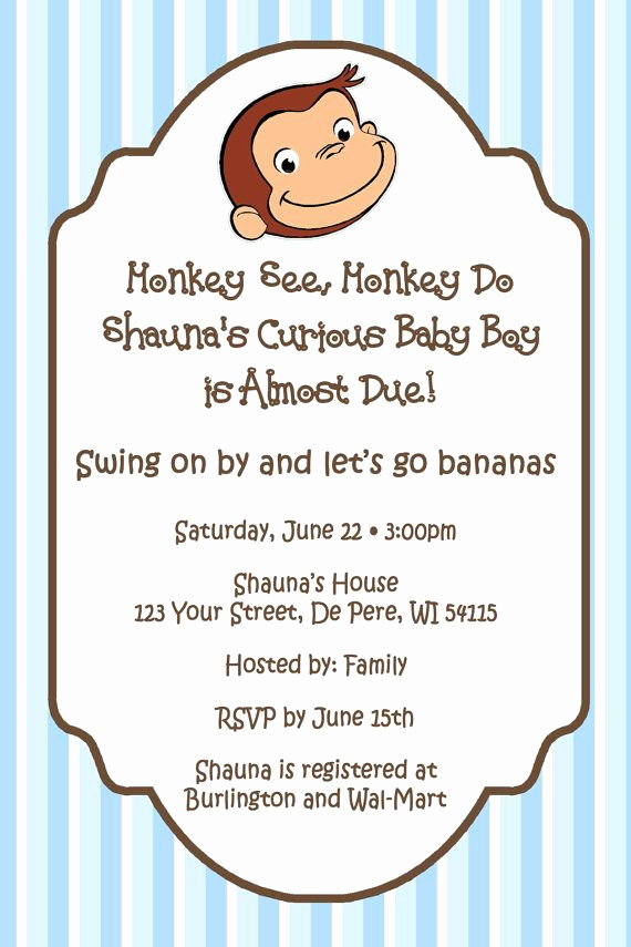 Curious George Invitation Template Elegant Curious George theme Personalized Baby Shower by
