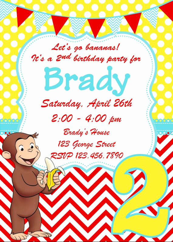 Curious George Invitation Template Fresh Curious George Birthday Invitation by Whitetulippaperie On