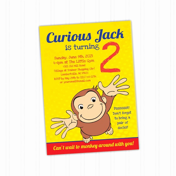 Curious George Invitation Template Inspirational Curious George Birthday Invitation Printable by