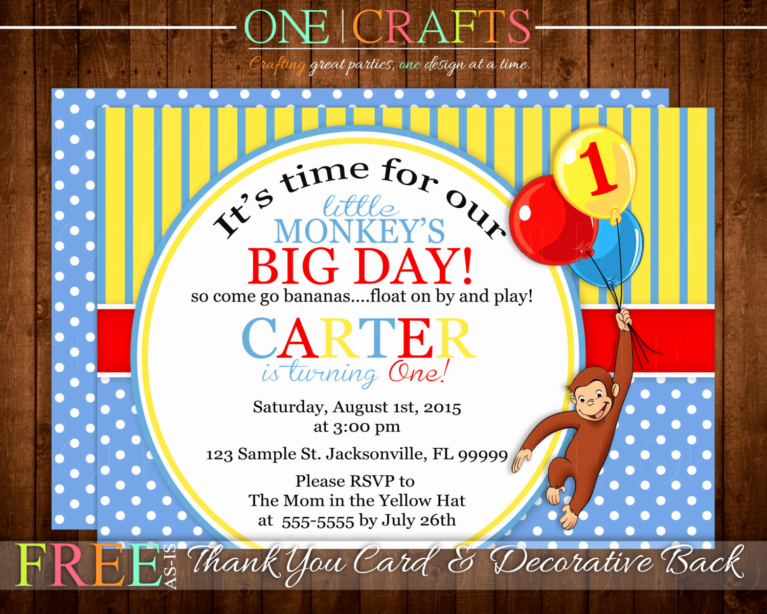 Curious George Invitation Template Lovely Curious George Invitation Printable Yellow & Blue by Ecrafts
