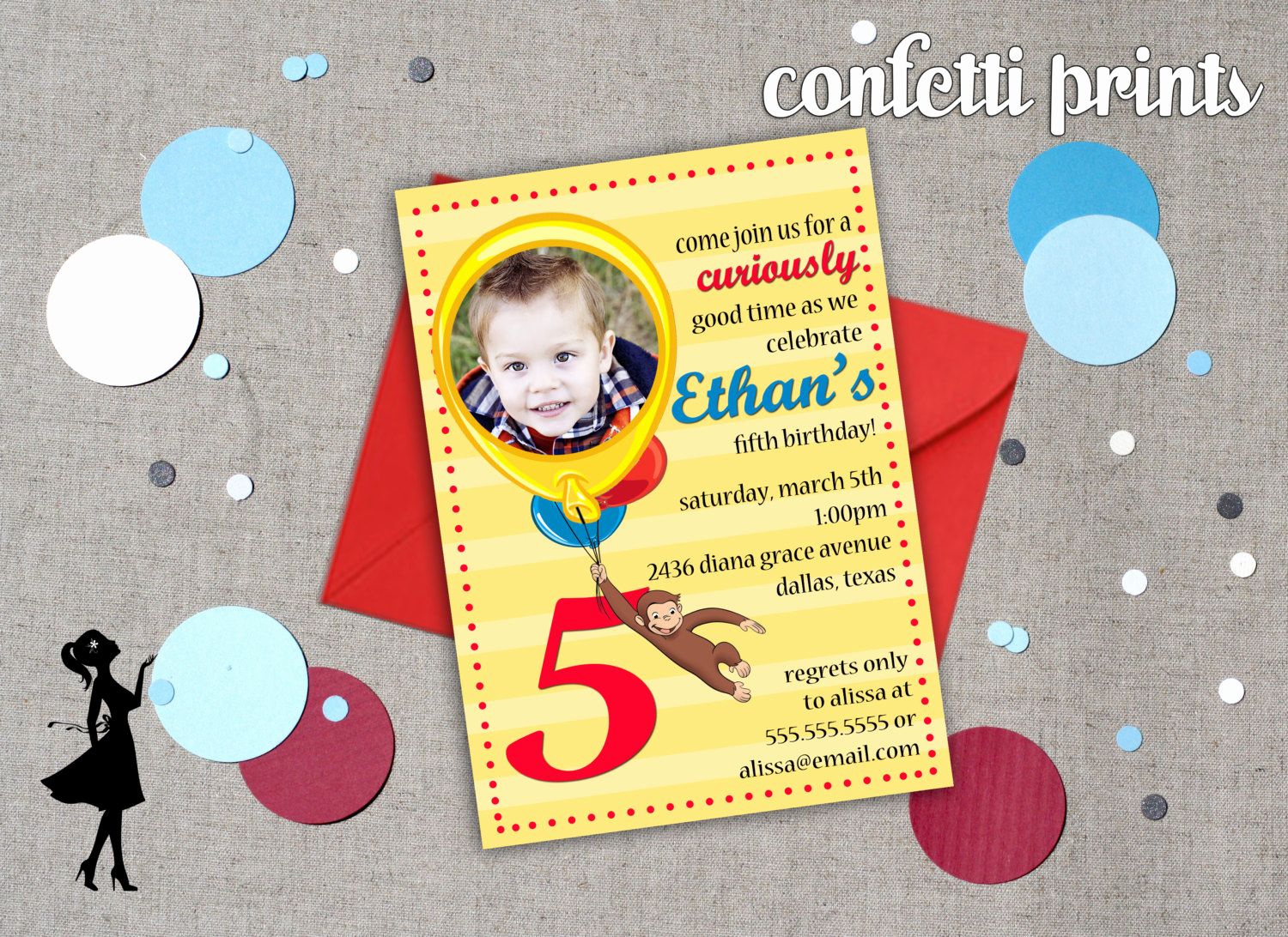 Curious George Invitation Template Luxury Curious George Birthday Invitation by