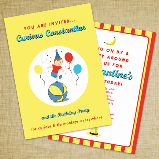 Curious George Invitation Template New Curious George Inspired Invitation Diy Printable File