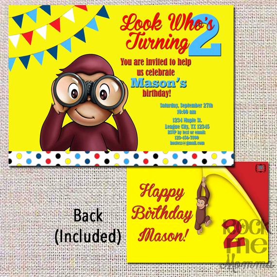 Curious George Invitation Template New Items Similar to Curious George Birthday Invitation