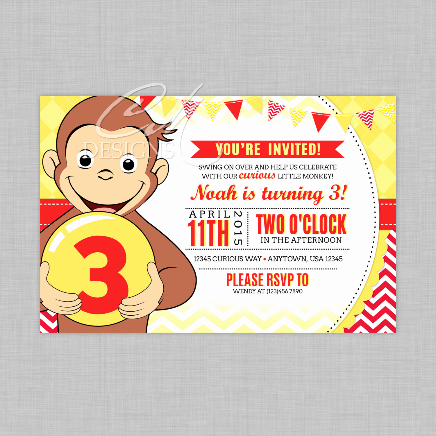 Curious George Invitation Template Unique Curious George Birthday Invitation Two Color by