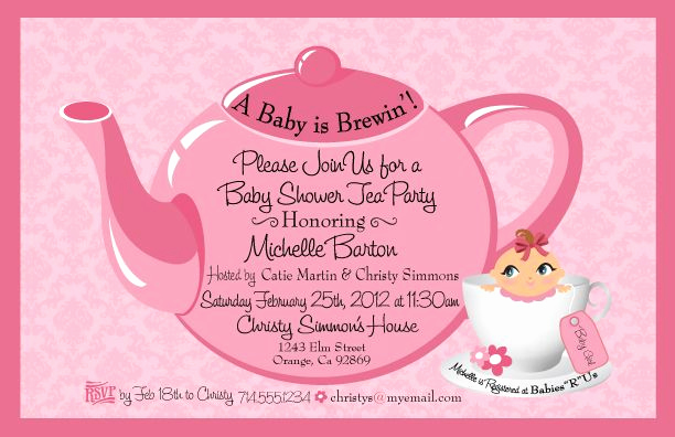 Cute Baby Shower Invitation Ideas Inspirational Tea Party Baby Shower Invitation Girl Baby Shower