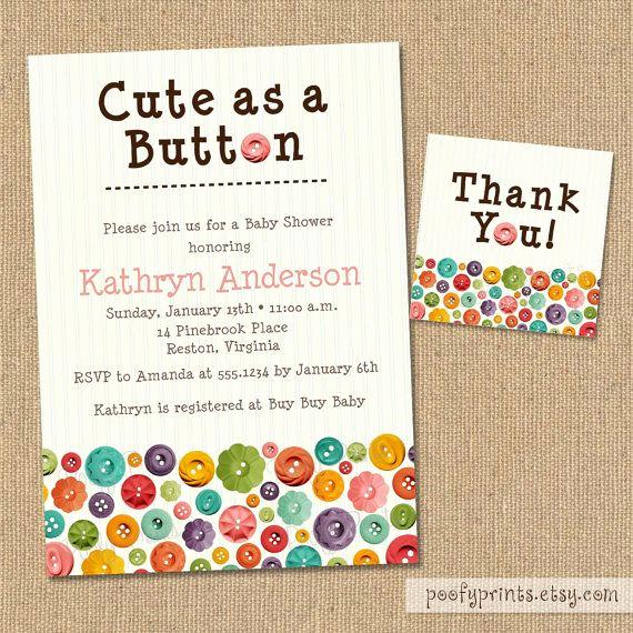Cute Baby Shower Invitation Ideas Unique Cute as A button Baby Shower Invitations Diy Printable
