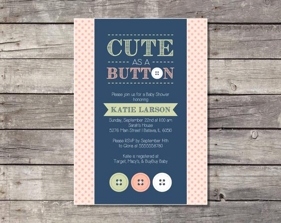 Cute Baby Shower Invitation Wording Fresh Cute as A button Baby Shower Invitation Printable by