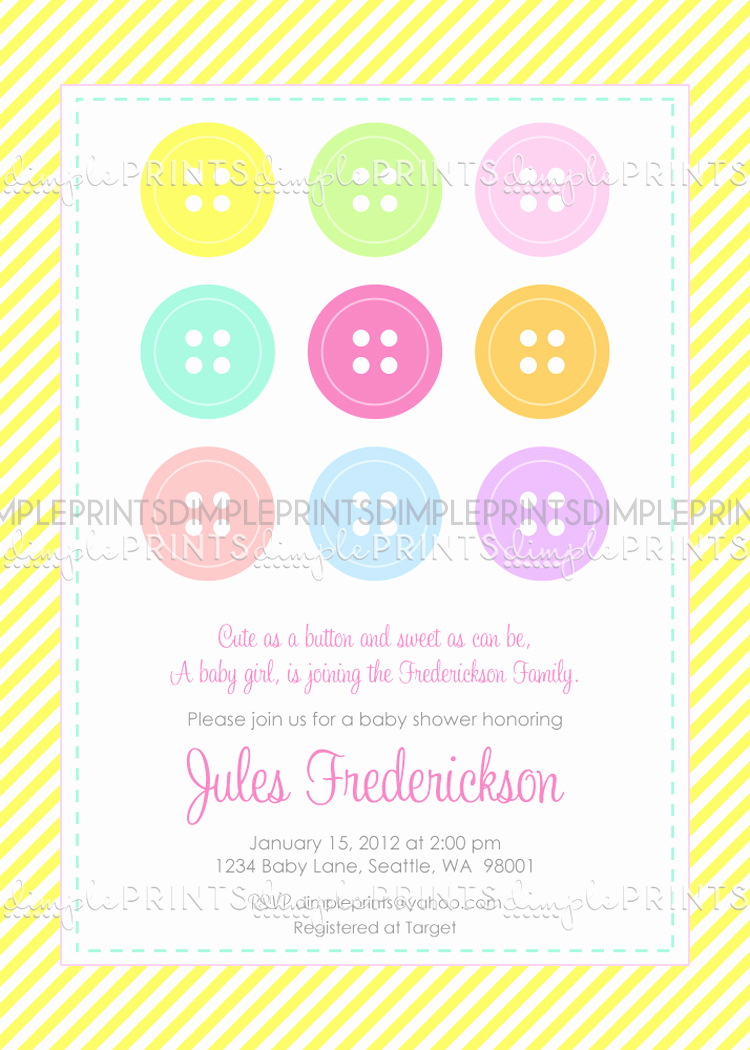 Cute Baby Shower Invitation Wording Fresh Cute as A button Baby Shower or Birthday Invite Dimple
