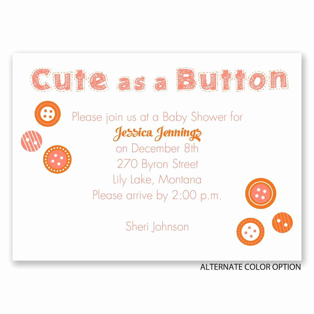 Cute Baby Shower Invitation Wording Lovely Cute as A button Mini Baby Shower Invitation