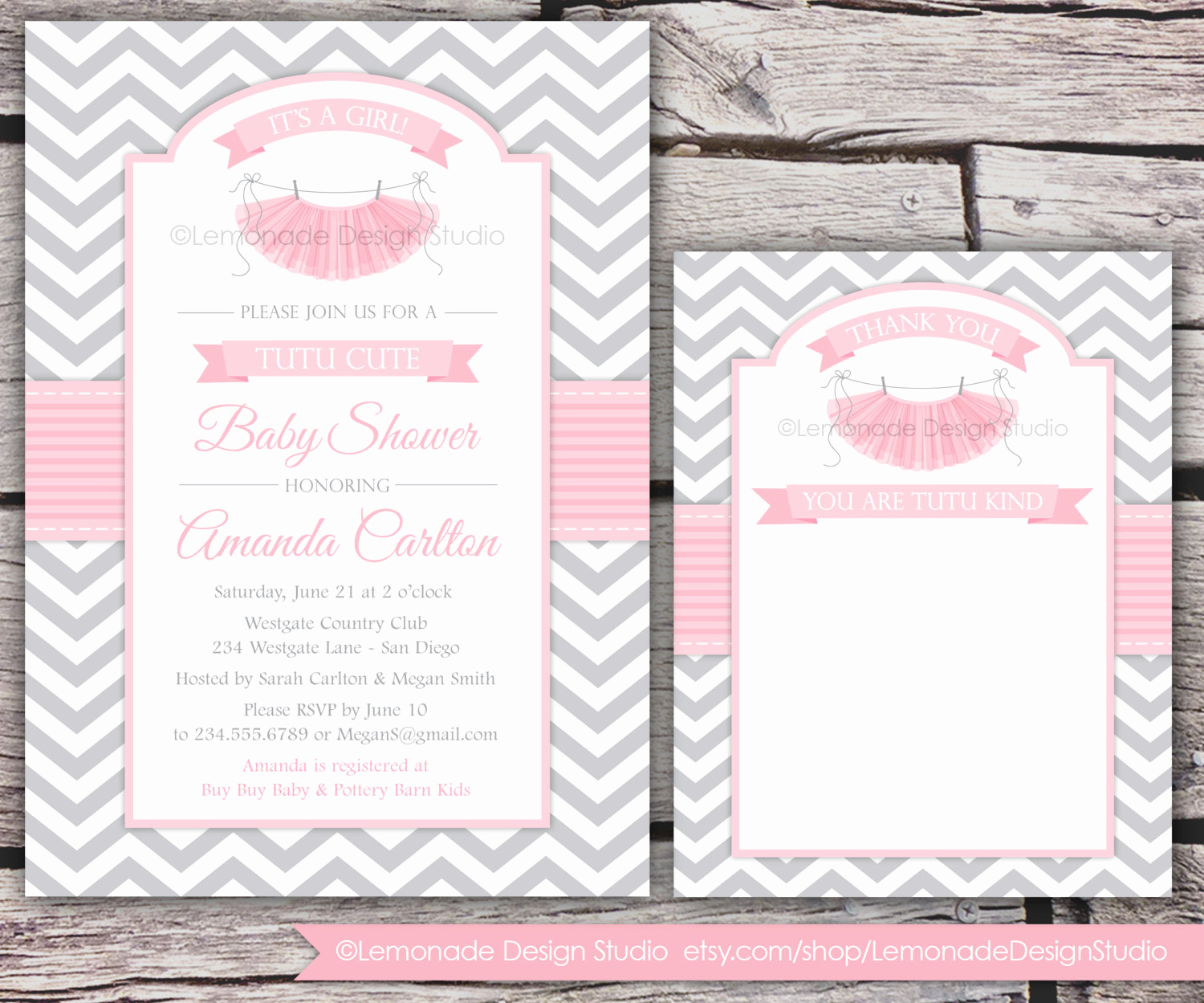 Cute Baby Shower Invitation Wording Unique Tutu Cute Baby Shower Invitation and Thank You Card Chevron