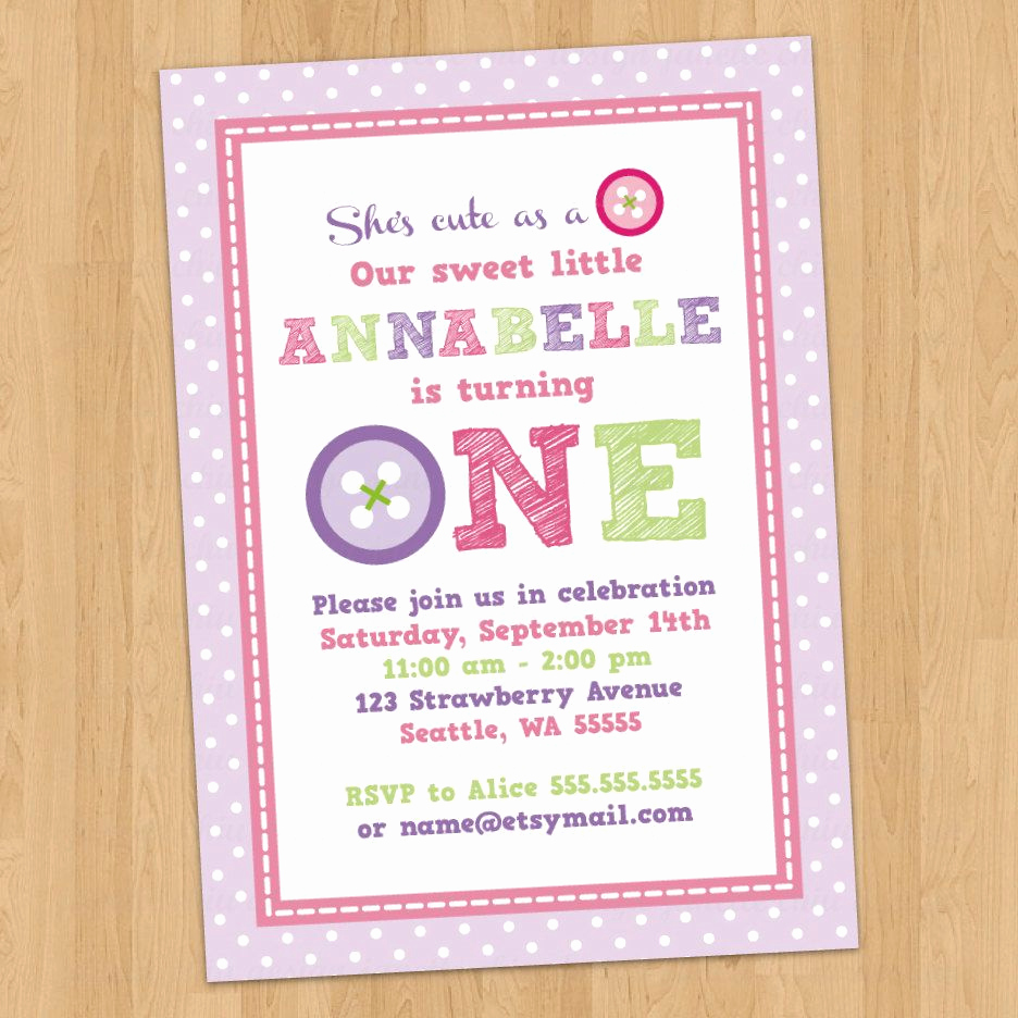 Cute Birthday Invitation Ideas Beautiful Cute button First Birthday Party Invitation by