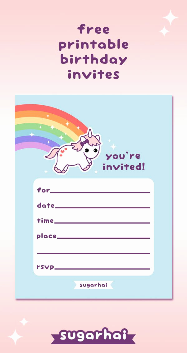 Cute Birthday Invitation Ideas Elegant Rainbow Unicorn Birthday Invitations