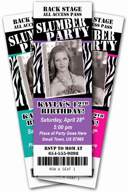 Cute Birthday Invitation Ideas Fresh Slumber Party Invitation Zebra Print Ticket Invite
