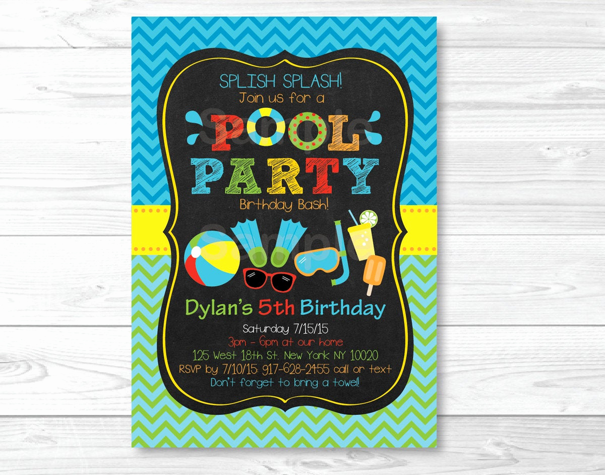 Cute Birthday Invitation Ideas Inspirational Cute Pool Party Invitation Pool Party Invite Boys Pool