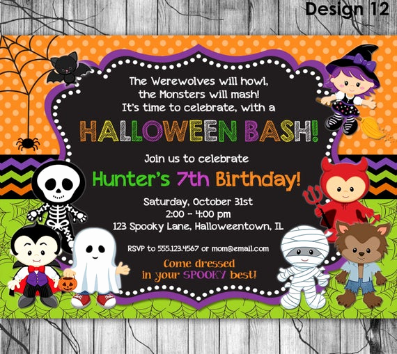 Cute Birthday Invitation Ideas Luxury Halloween Birthday Invitation Printable Kids Halloween Party