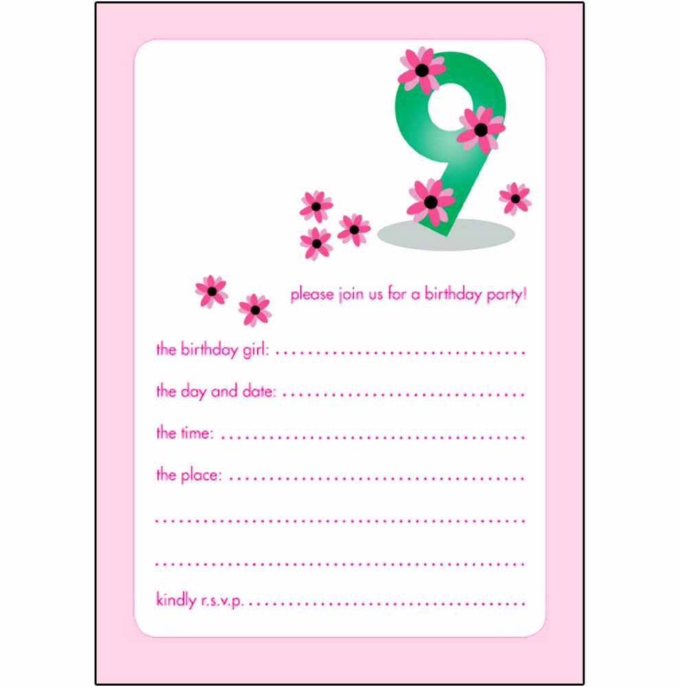 Cute Birthday Invitation Ideas New 10 Childrens Birthday Party Invitations 9 Years Old Girl