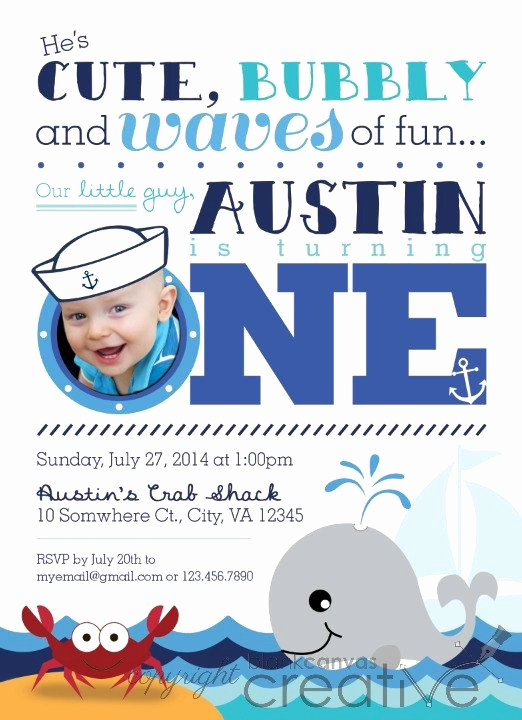 Cute Birthday Invitation Ideas New Cute Nautical Crab Whale First Birthday Invitation Diy