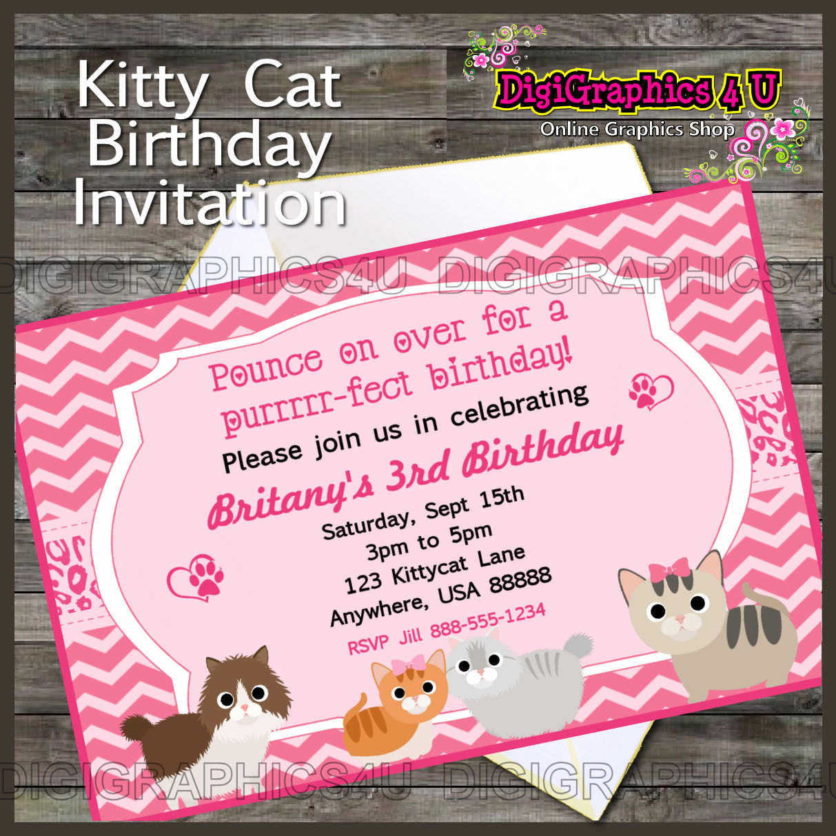 Cute Birthday Invitation Ideas New Cute Personalized Girl's Kitty Cat Kitten themed Printable