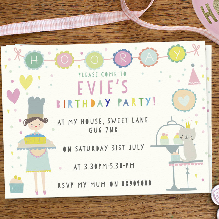 Cute Birthday Invitation Ideas New Girl S Birthday Party Invitations Cute Cake Day by Lily