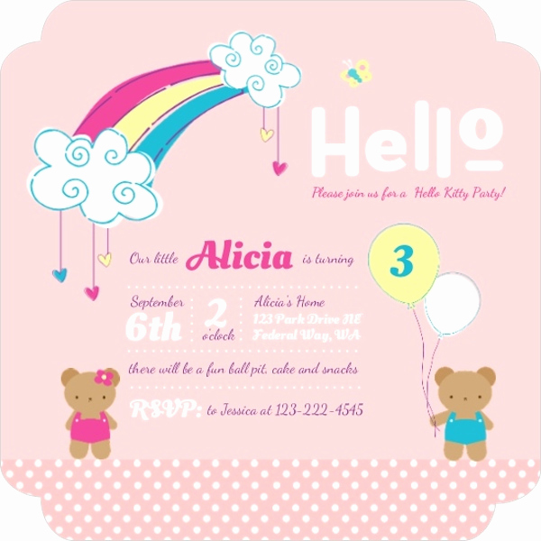 Cute Birthday Invitation Ideas Unique Hello Kitty Birthday Party Ideas Invitations Wording Crafts