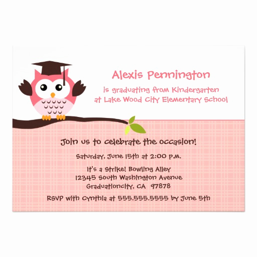 Cute Graduation Invitation Ideas Inspirational Cute Pink Owl Elementary Girl S Graduation Party 5x7 Paper