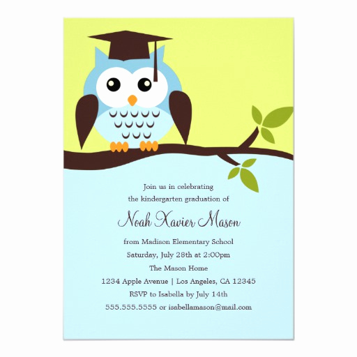 Cute Graduation Invitation Ideas New Cute Blue Owl Graduation Party Invitation