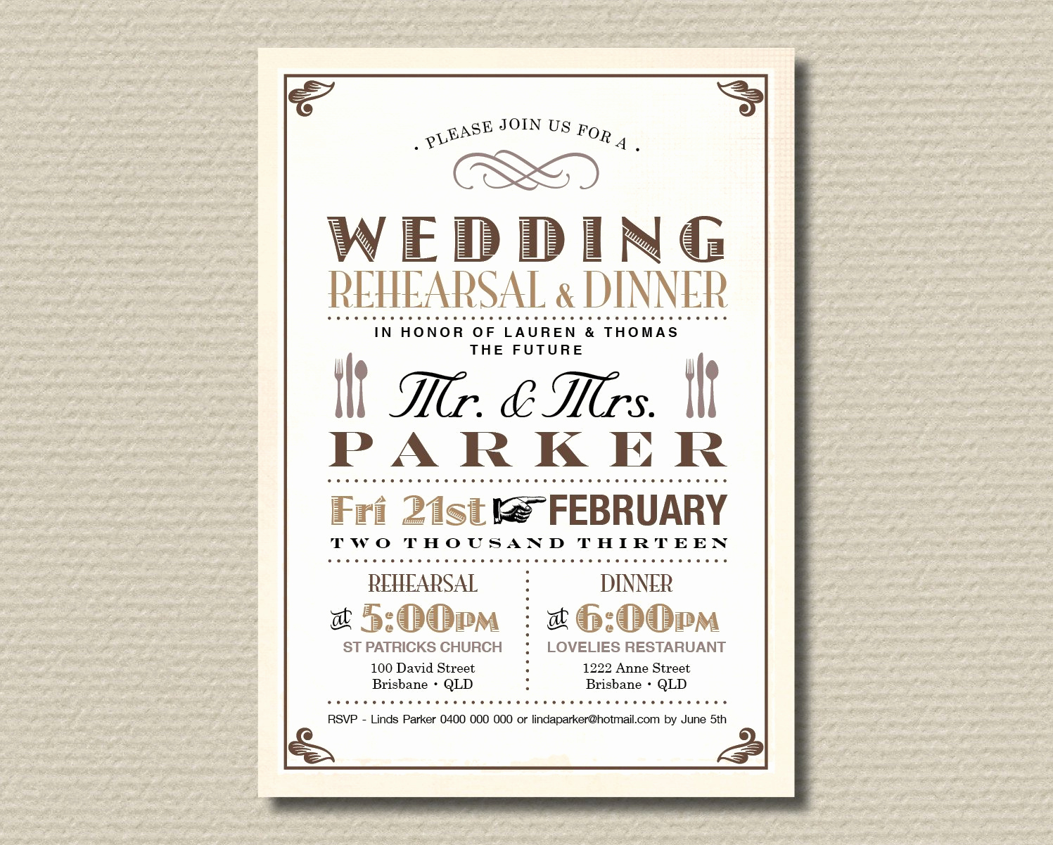 cute rehearsal dinner invitations