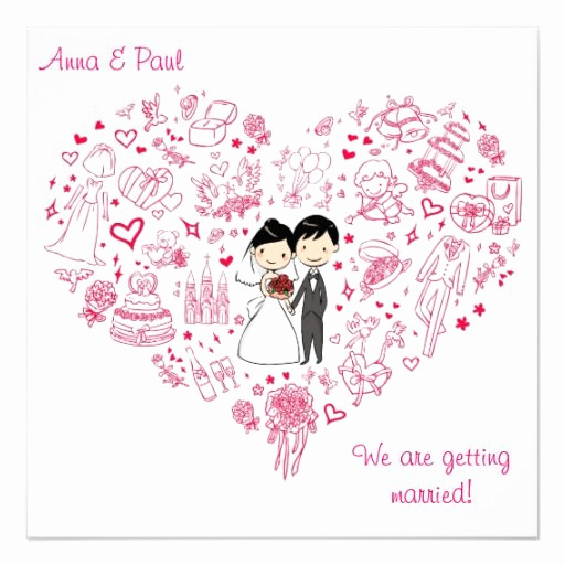 Cute Wedding Invitation Ideas Elegant Cute Pink Wedding Invitation Drawing Heart Wedding
