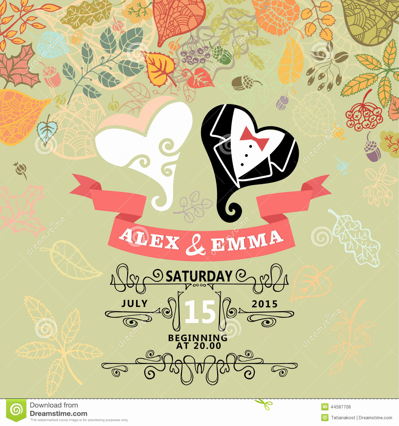 Cute Wedding Invitation Ideas Unique Cute Wedding Invitation with Stylized Heart Stock Vector
