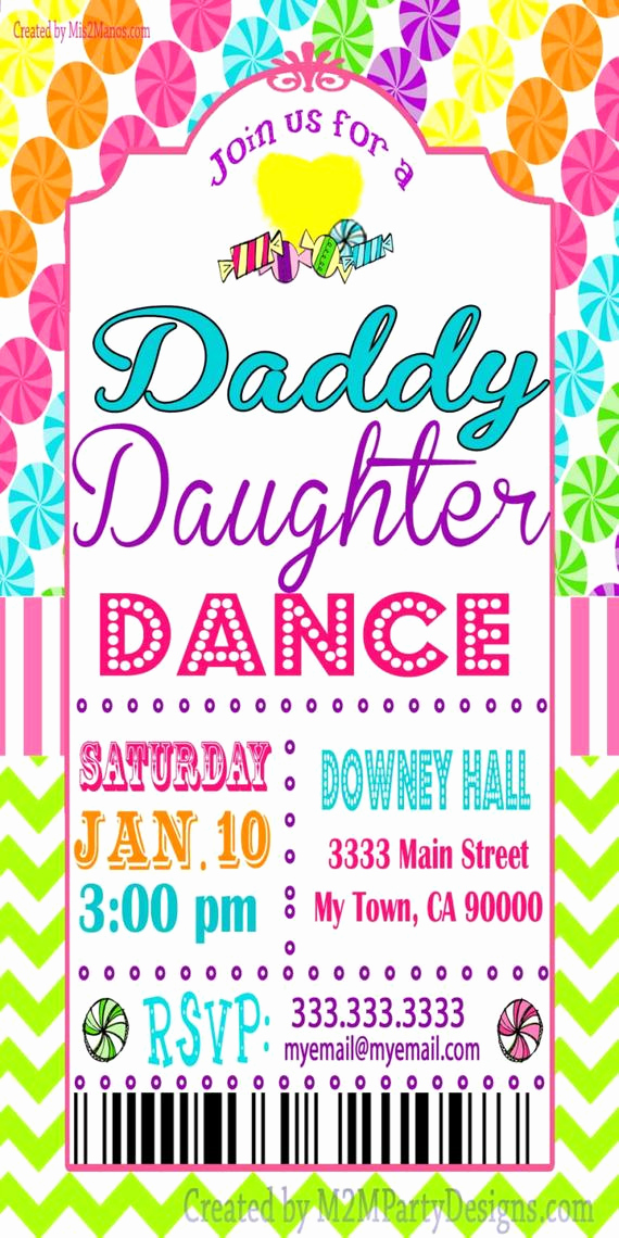 Daddy Daughter Dance Invitation Awesome Daddy Daughter Dance Celebration Candyland Tickets Invitation