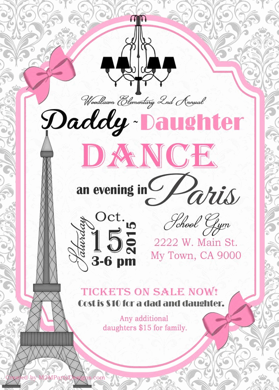 Daddy Daughter Dance Invitation Fresh Daddy Daughter Dance evening In Paris Invitation or Paris