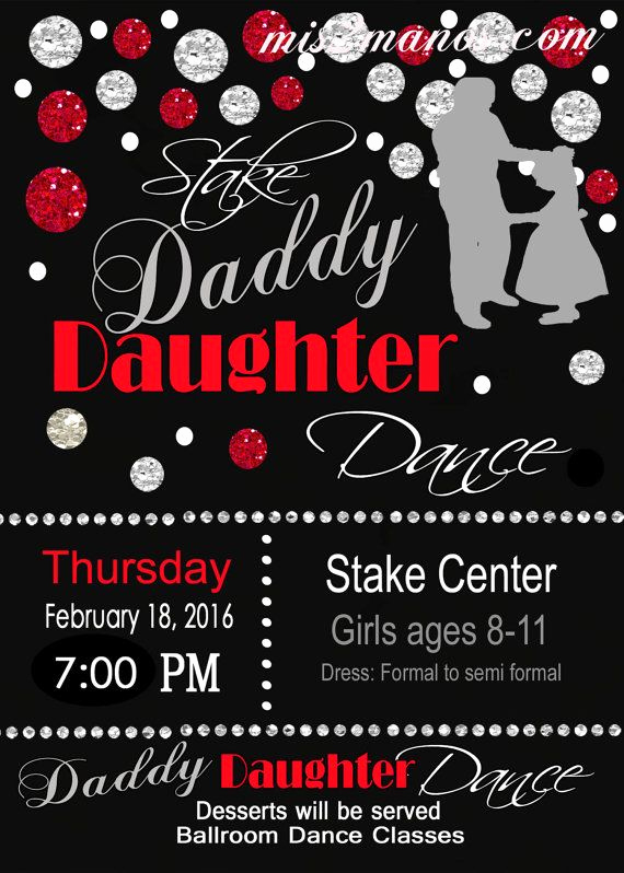Daddy Daughter Dance Invitation Inspirational Daddy Daughter Dance Celebration Red and Black Invitation