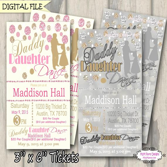 Daddy Daughter Dance Invitation Inspirational Daddy Daughter Dance Ticket Celebration Glitter and Gold