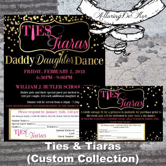 Daddy Daughter Dance Invitation Inspirational Daddy Daughter Dance Ties & Tiaras Ball Invitation