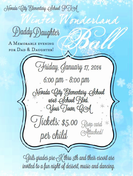 Daddy Daughter Dance Invitation Inspirational Winter Wonderland Ball Father Daughter Dance Printable