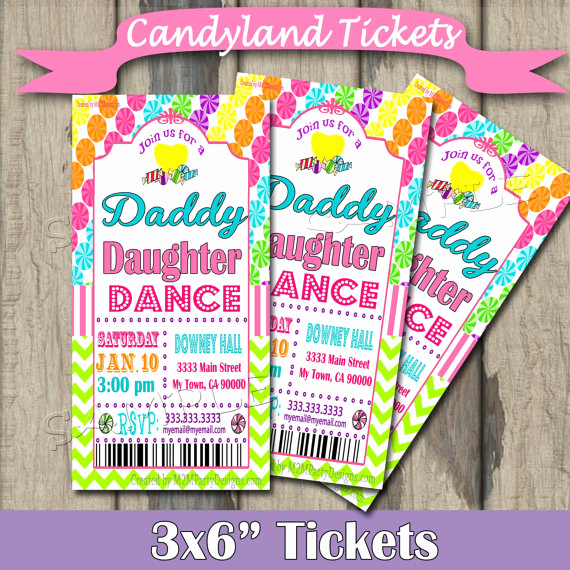 Daddy Daughter Dance Invitation Luxury Daddy Daughter Dance Celebration Candyland Tickets Invitation
