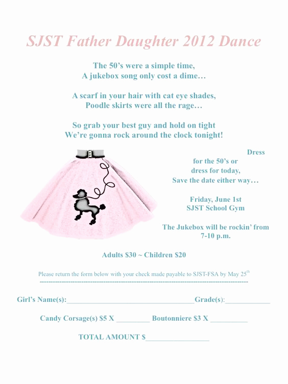 Daddy Daughter Dance Invitation New Father Daughter Dance Invitation sock Hop