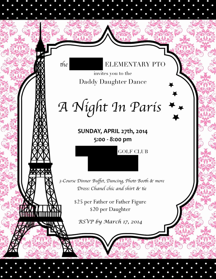 Daddy Daughter Dance Invitation New Pin by Kerry Ericson On A Night In Paris
